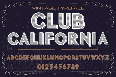 vintage alphabet Typeface handcrafted vector label design club