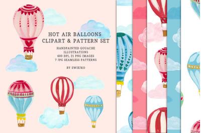Hot Air Balloons clipart & seamless pattern