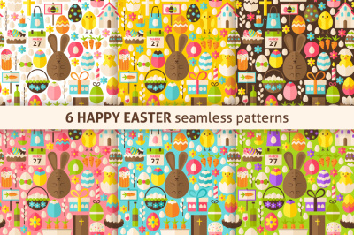 Happy Easter Flat Seamless Patterns