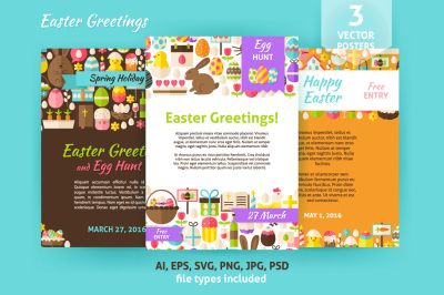 Happy Easter Vector Flat Posters