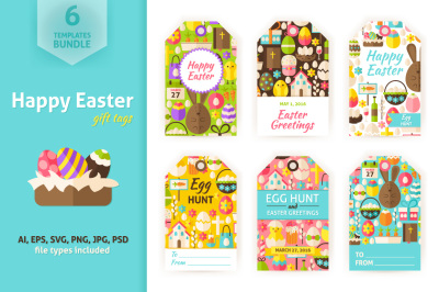 Happy Easter Gift Tag Vector Set