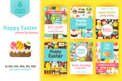 Happy Easter Vertical Invitations