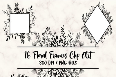Hand Drawn Floral Frames Clip Art