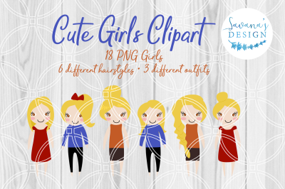Blonde Girls, Clipart, PNG, Planner Stickers, Cute Girl Clipart