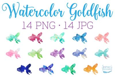 Watercolor Goldfish, Goldfish Clipart, Hand Painted Fish, Card Design