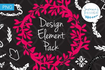 Design Element Pack, Wreaths, Borders, Frames, Ornamental, Assets