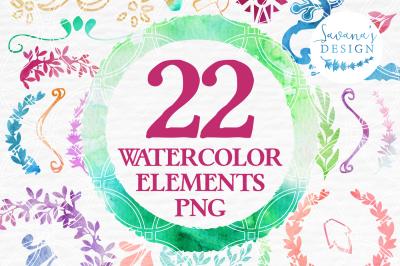Watercolor Element Pack, Frames, Borders, Assets, Flourishes, Wreaths