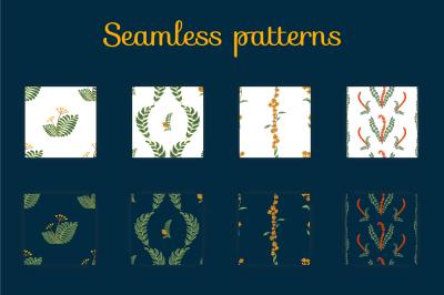 Forest grass. 4 seamless patterns