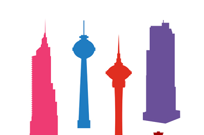 Set of colorful silhouettes  skyscrapers