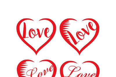 Set of valentines hearts love