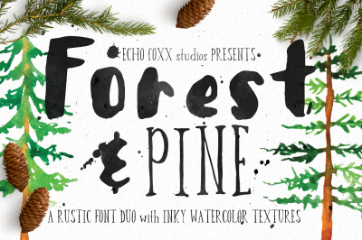 Forest & Pine Font + Extra Textures