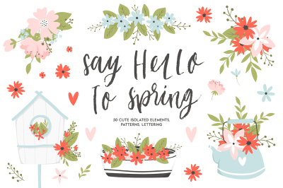 Spring set - flowers, lettering etc.