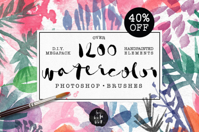 40% Off! Watercolor PS Brushes 1200+