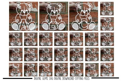 Full Alphabet Teddy bear Paper Cut SVG / DXF / EPS Files