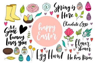 Happy Easter. Pack of doodles with lettering elements.