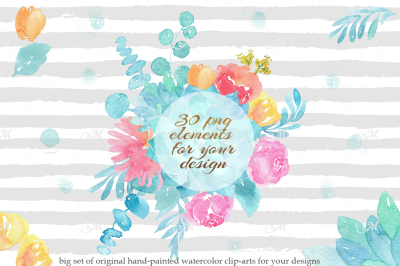 Watercolor bouquet clip-arts. PSD+PNG