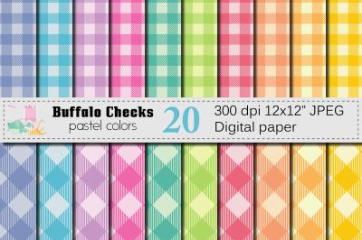 Buffalo Plaid Pastel Colors Digital Paper / Buffalo Checks pattern