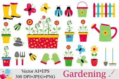 Spring Garden Clipart / Gardening Vector graphics