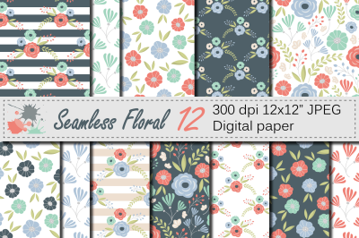 Seamless Floral Pattern / Mother`s day Digital paper / Mint, Coral