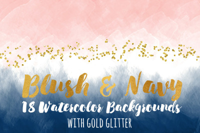 Watercolor Blush & Navy with Sparkling Glitter