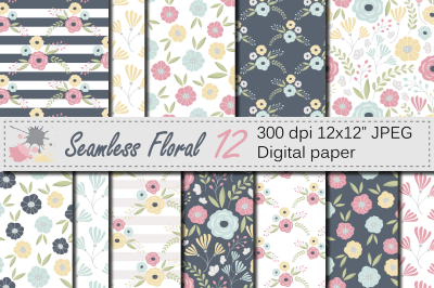 Seamless Floral Pattern / Mother`s day Digital paper / Pink, Yellow