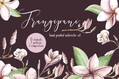 Frangipani Floral Watercolor Clipart