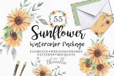 HUGE Sunflower Package 55 Pieces Elements Wreaths Hand Painted Floral