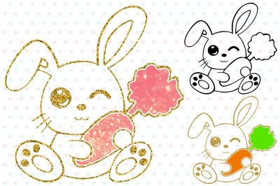 Easter Bunny Silhouette Glitter Rabbit carrot outline 758S