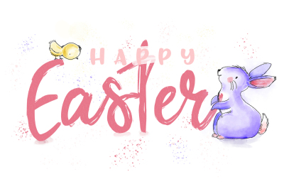 Happy Easter watercolor illustration