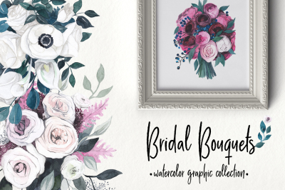 Bridal bouquets: floral watercolor collection