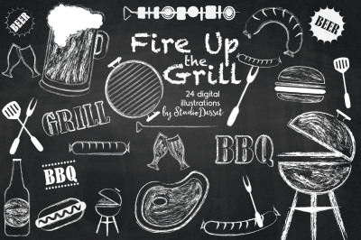 Fire UP the Grill - Chalkboard cliparts