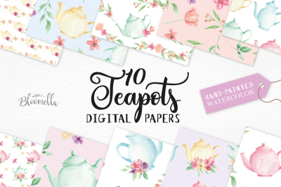 Watercolor Teapot Seamless Patters Digital Papers Floral Flower