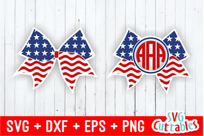Flag Cheer Bow and Monogram Frame