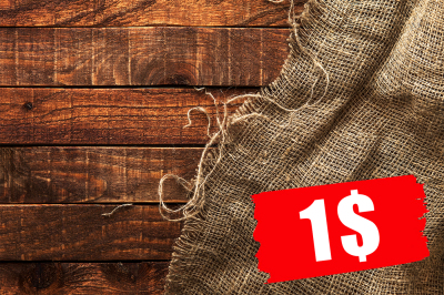 Burlap cloth on wooden background