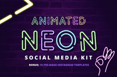 ANIMATED - Neon Social Media Kit
