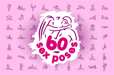 Set 60 sex poses illustration icons