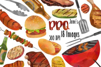 Watercolor BBQ Clipart