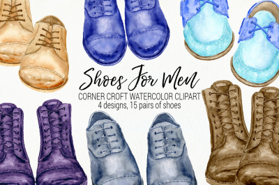 Watercolor Clipart Shoes for Men