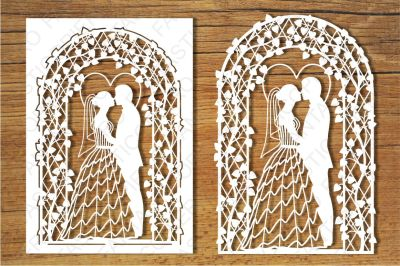 Wedding card SVG files for Silhouette Cameo and Cricut.
