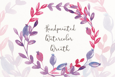 Purple watercolor wreath