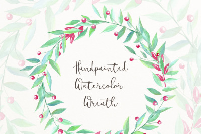 Handpainted watercolor wreath