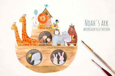 Watercolor illustration Noah's Ark (PNG)