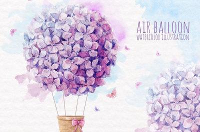 Watercolor Floral Air Balloon (PNG)