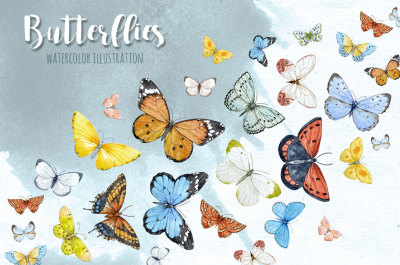 Watercolor illustration of flying butterflies (PNG)