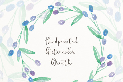 Hand painted watercolor wreath