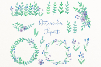 Summer watercolor clip art
