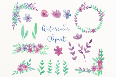 Summer clipart watercolor