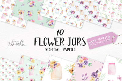 Watercolor Jar Patterns Digital Papers Floral Flower Prints