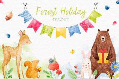 Cute Watercolor Animals Set (PNG + PSD)