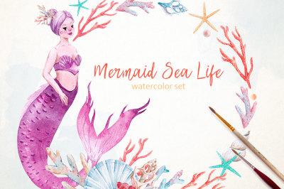 Watercolor set Mermaid Sea Life  (PNG + PSD)